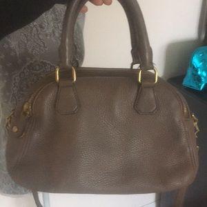 J crew biennial satchel purse taupe leather
